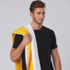 Large name embroidered on striped towel