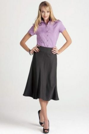 3/4 Length Fluted Lined Skirt