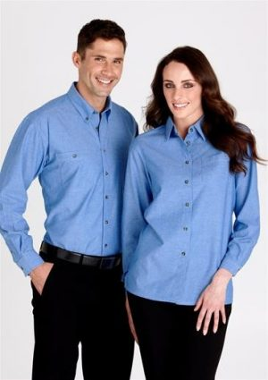 Mens Wrinkle free chambray Shirt