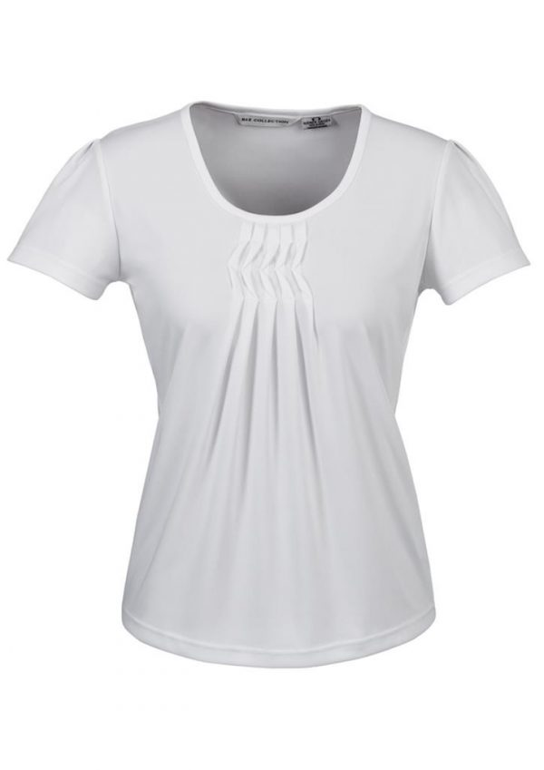 Deco Pleat Knit Top White