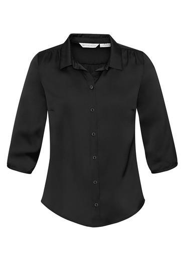 Shimmer Ladies 3/4 Sleeve Blouse Black
