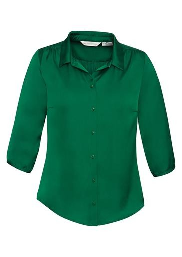 Shimmer Ladies 3/4 Sleeve Blouse New Green