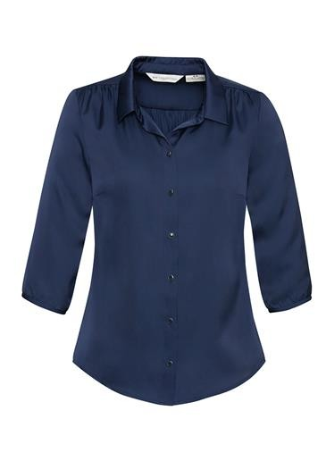 Shimmer Ladies 3/4 Sleeve Blouse Midnight Blue