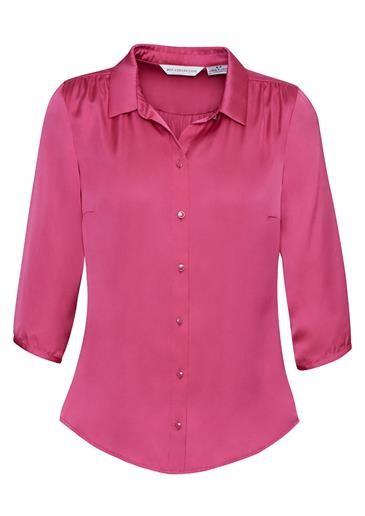 Shimmer Ladies 3/4 Sleeve Blouse Poppy