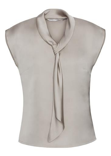 Shimmer Ladies Tie Neck Top Champagne