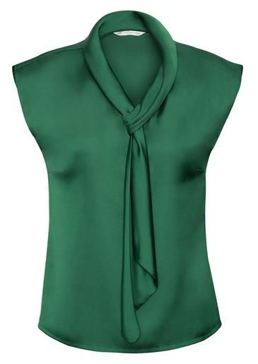 Shimmer Ladies Tie Neck Top New Green
