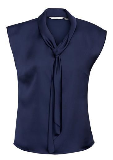 Shimmer Ladies Tie Neck Top Midnight Blue