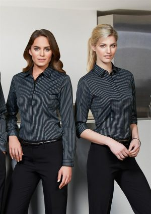 Reno Stripe Cotton-Rich Shirt - Ladies 3/4 Sleeve