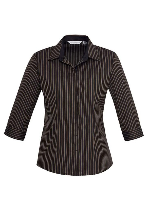 Reno Stripe Cotton-Rich Shirt - Ladies 3/4 Sleeve