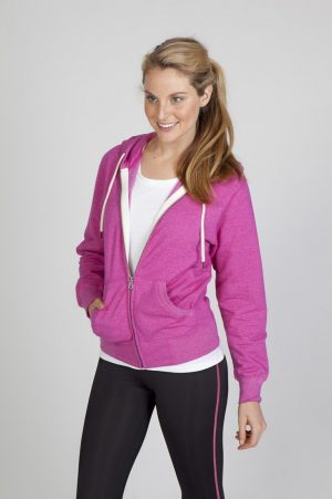 Ladies Greatness Heather Brushed Fleece Zip Hoodie