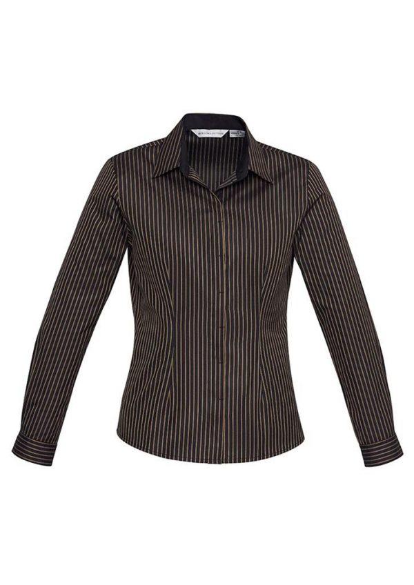 Reno Stripe Cotton-Rich Shirt - Ladies Long Sleeve