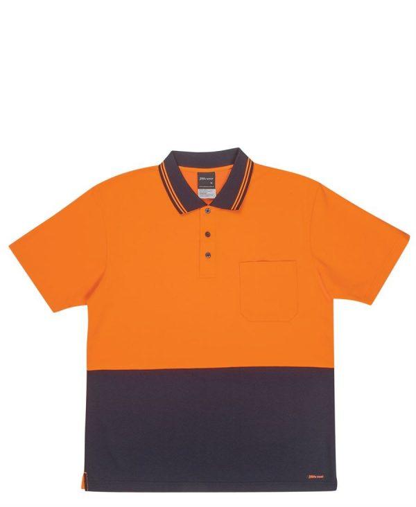 Hi Vis Non Cuff Short Sleeve Cotton Back Polo