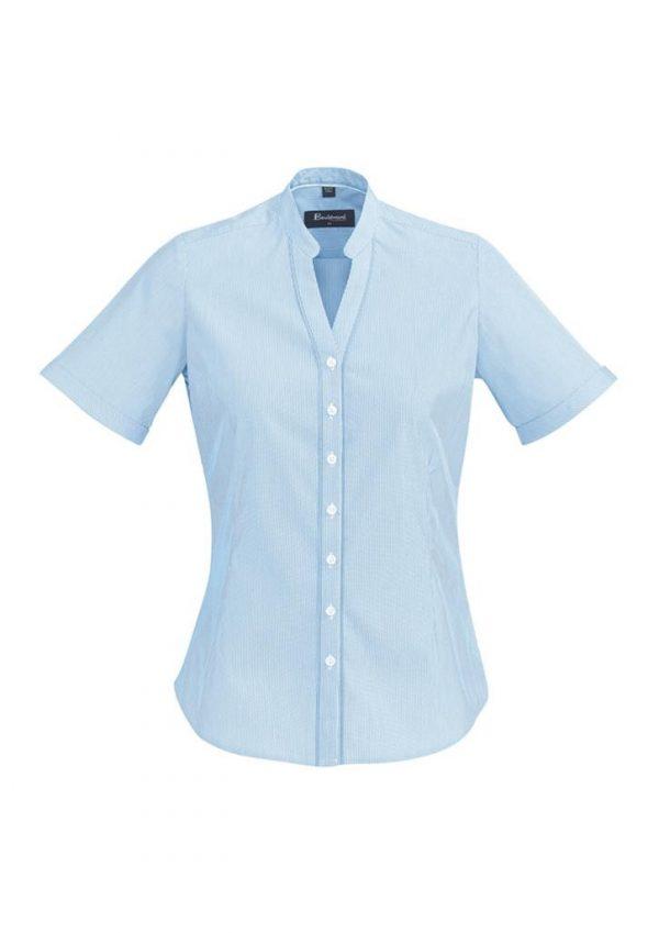 Ladies Bordeaux Short Sleeve Shirt Alaskan Blue