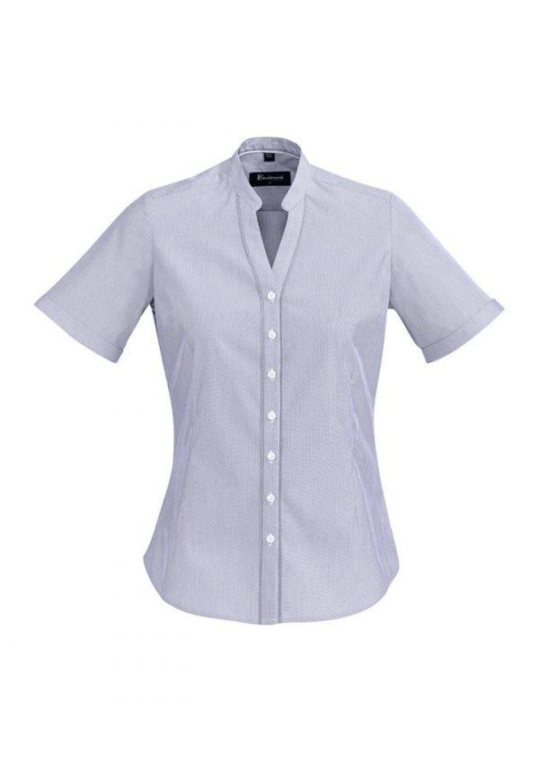 Ladies Bordeaux Short Sleeve Shirt Patriot Blue