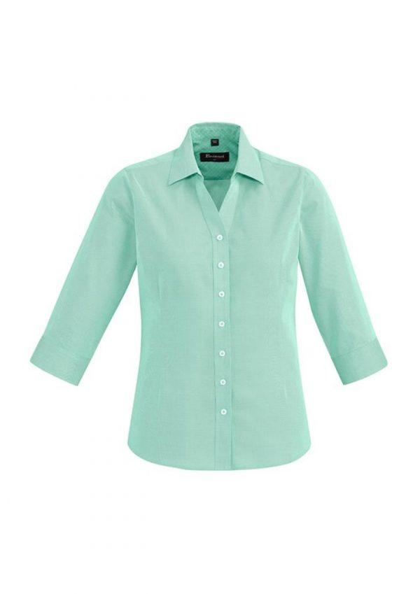 Ladies Hudson 3/4 Sleeve Shirt Dynasty Green