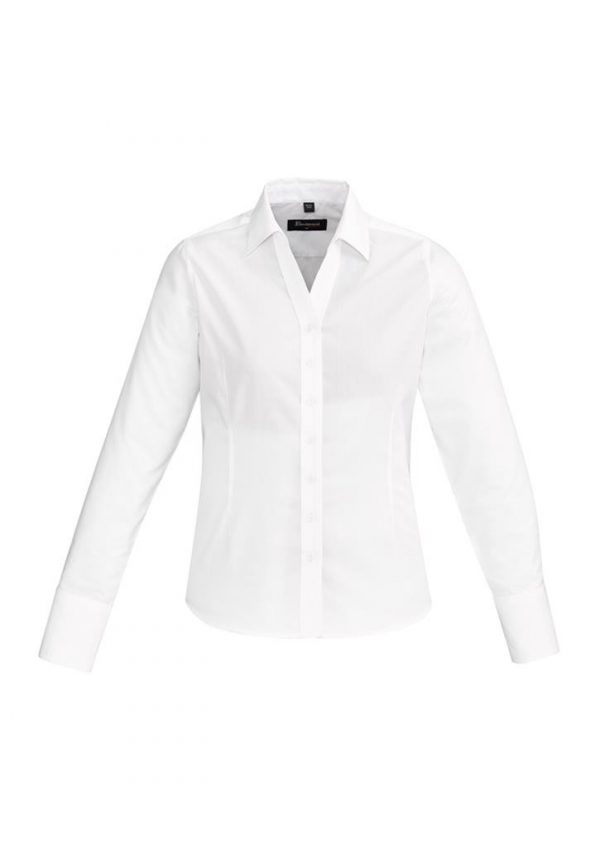 Ladies Hudson Long Sleeve Shirt White