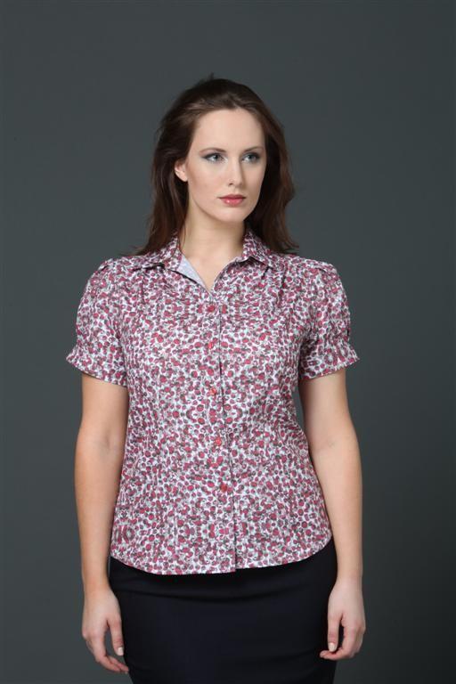 Ladies Blossom Print Blouse Short sleeve style 1