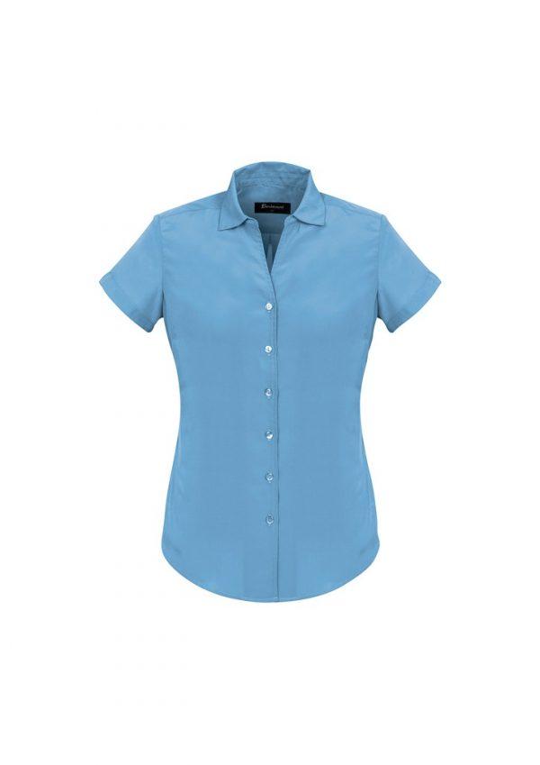 Ladies Solanda Short Sleeve Plain Shirt Alaskan Blue