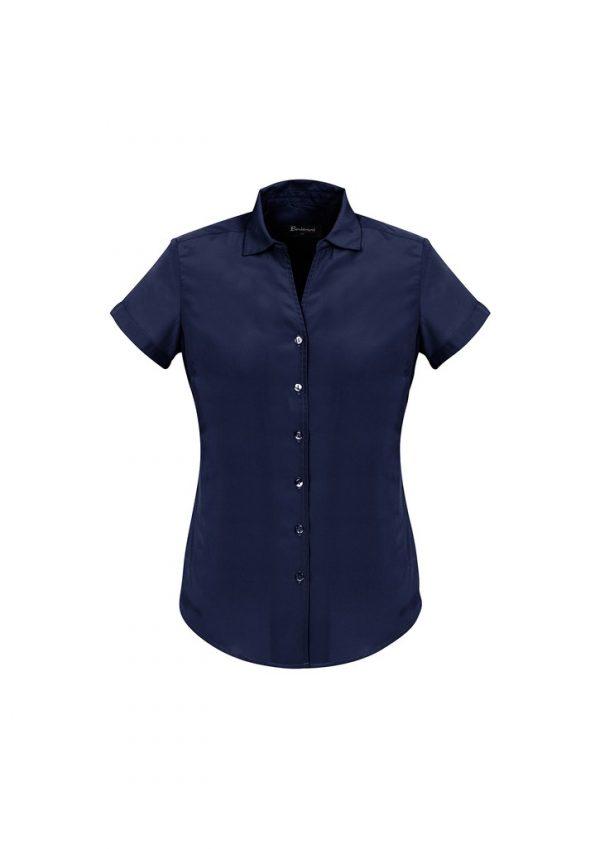 Ladies Solanda Short Sleeve Plain Shirt Patriot Blue