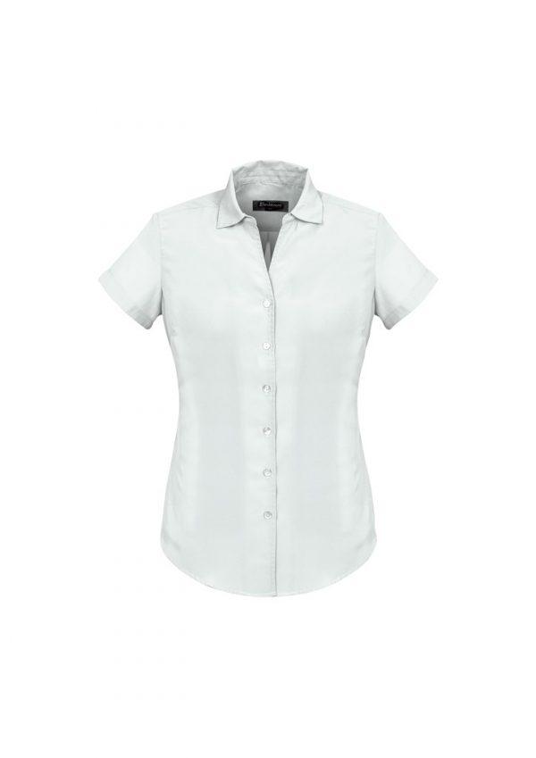 Ladies Solanda Short Sleeve Plain Shirt White