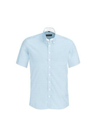 Mens Fifth Avenue Short Sleeve Shirt Alaskan Blue
