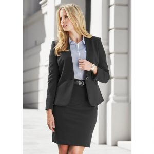 Ladies Single Button Collarless Jacket
