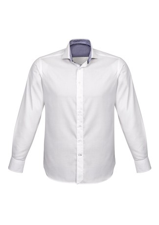 Mens Herne Bay Long Sleeve Shirt White/Turkish Blue