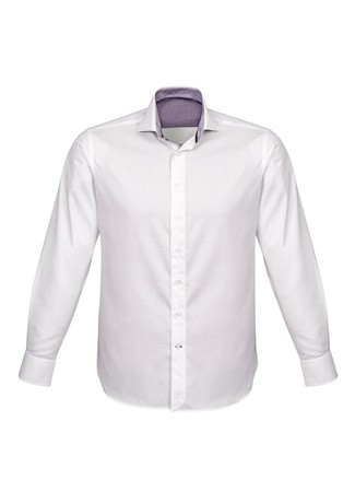 Mens Herne Bay Long Sleeve Shirt White/Purple Reign
