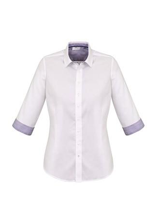 Ladies Herne Bay 3/4 Sleeve Shirt White/Purple Reign