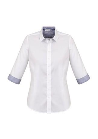 Ladies Herne Bay 3/4 Sleeve Shirt White/Turkish Blue