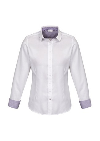 Ladies Herne Bay Long Sleeve Shirt White/ Purple Reign