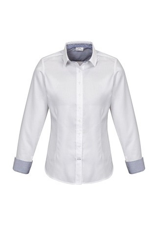 Ladies Herne Bay Long Sleeve Shirt White/ Turkish Blue