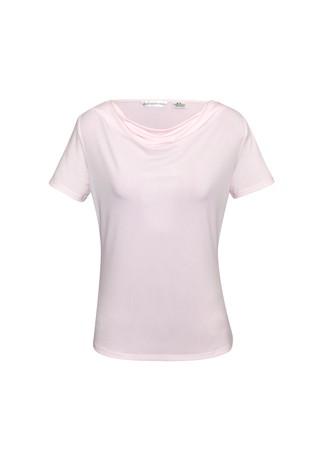 Ladies Ava Drape Knit Top Blush Pink