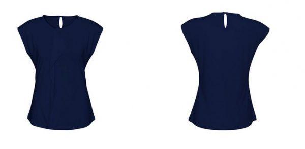 Ladies Mia Pleat Knit Top Midnight Blue