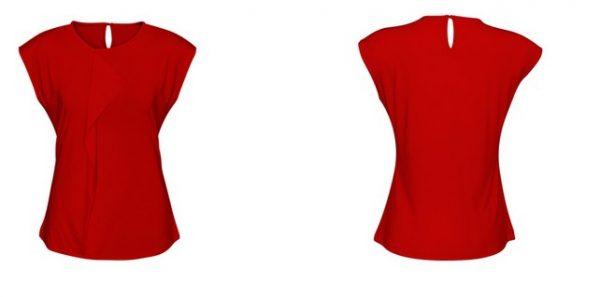Ladies Mia Pleat Knit Top Red