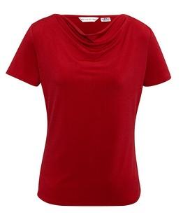 Ladies Ava Drape Knit Top Red