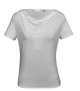 Ladies Ava Drape Knit Top Silver Mist