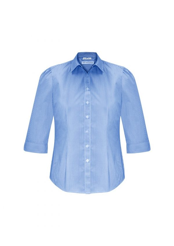Ladies Euro 3/4 Sleeve Shirt Blue