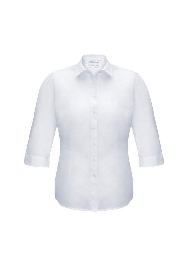 Ladies Euro 3/4 Sleeve Shirt White