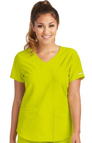 Sketchers Womens Vitality Scrub Top Sunny Lime