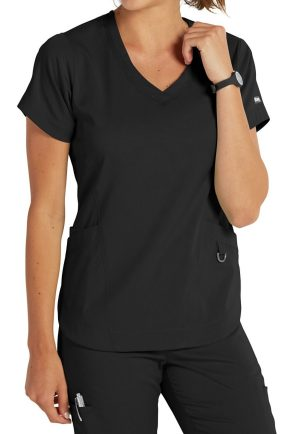 7187 Scrub Top Black