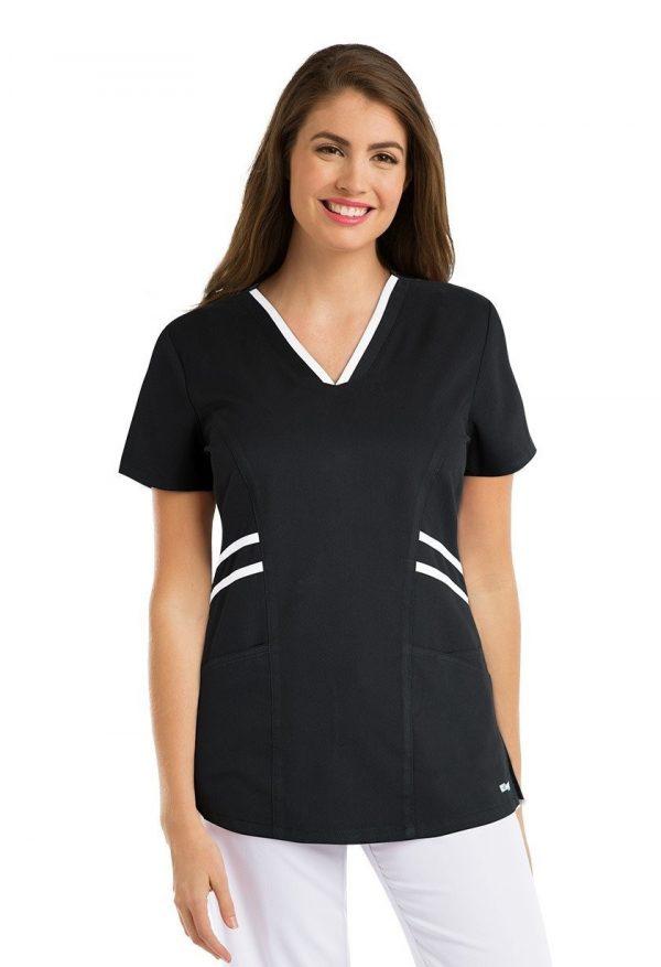 Grey's Anatomy Active Scrub Top Black/ White