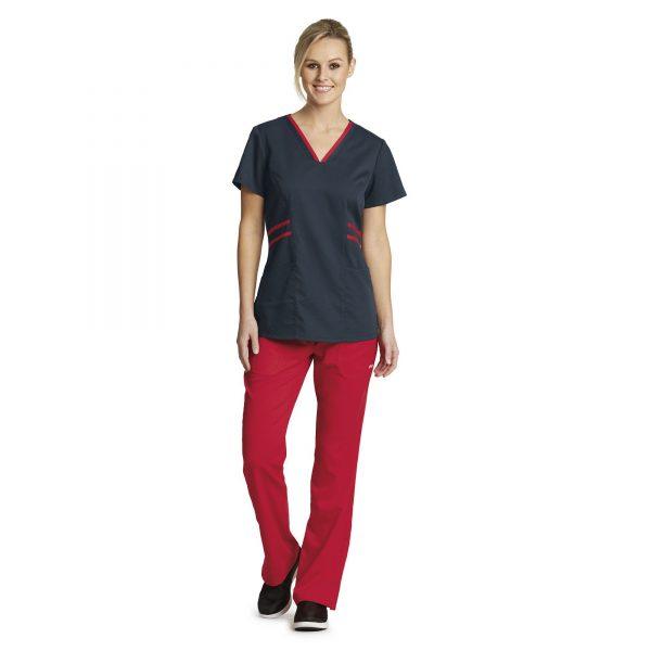 Grey's Anatomy Active Scrub Top Steel/ Scarlet