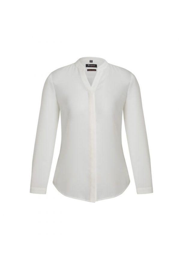 Juliette Women's Plain Sleeve Blouse Ivory Front View