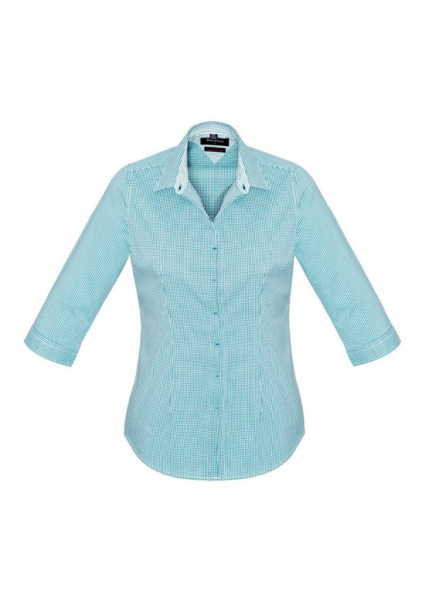 Newport Ladies 3/4 Sleeve Shirt Eden Green