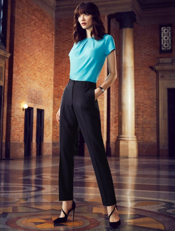 Sienna Suiting Women's Bandless Elastic Waist Back Slimline Pant