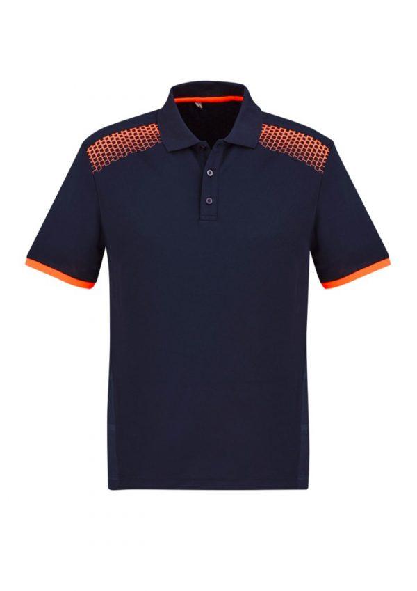 Men's Galaxy Polo Navy/ Fluoro Orange