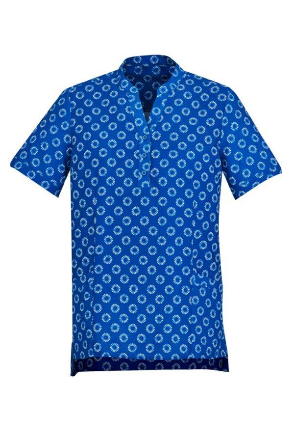 Women's Easy Stretch Daisy Print Tunic Electric Blue