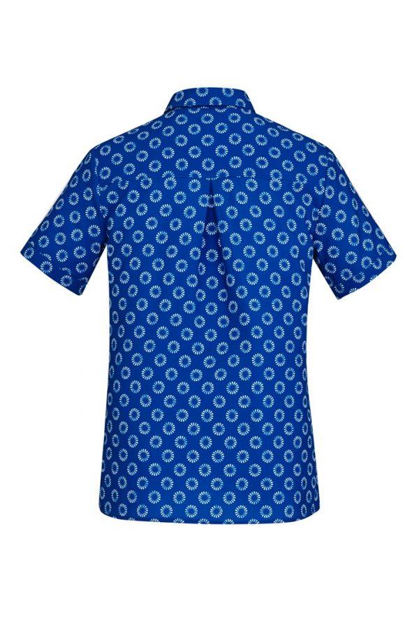 Women's Easy Stretch Daisy Print Short Sleeve Shirt Electric Blue