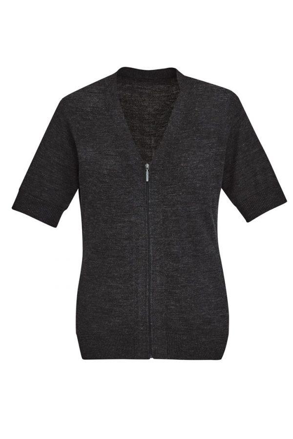 Women's Zip Front Short Sleeve Knit Charcoal